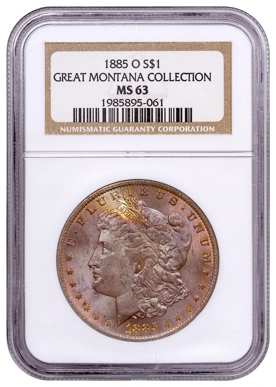 1885-O Morgan Silver Dollar From the Great Montana Collection NGC MS63 Toned CPCR 5061