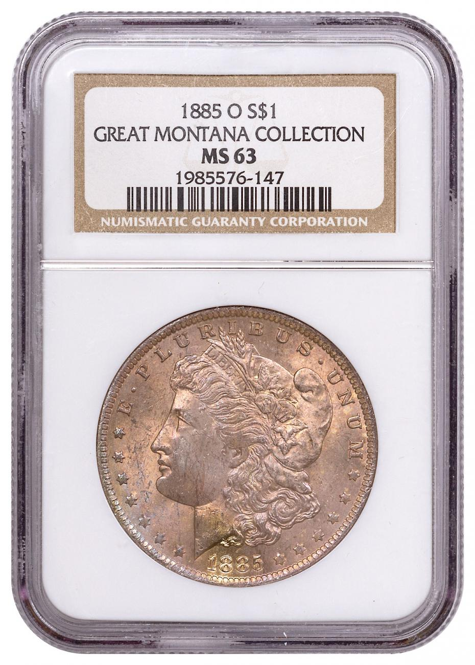 1885-O Morgan Silver Dollar From the Great Montana Collection NGC MS63 Toned CPCR 6147