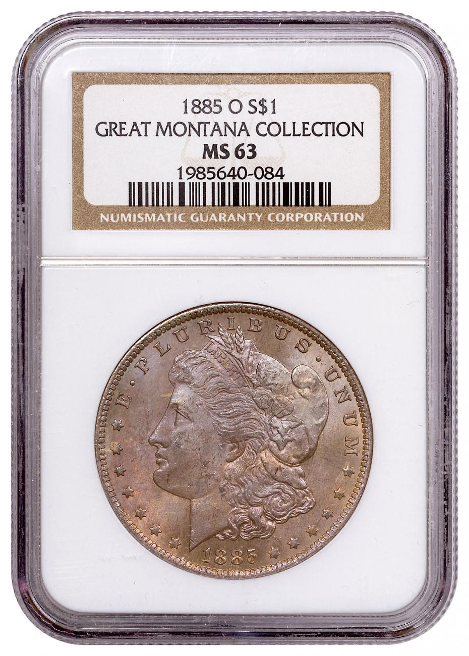1885-O Morgan Silver Dollar From the Great Montana Collection NGC MS63 Toned CPCR 0084