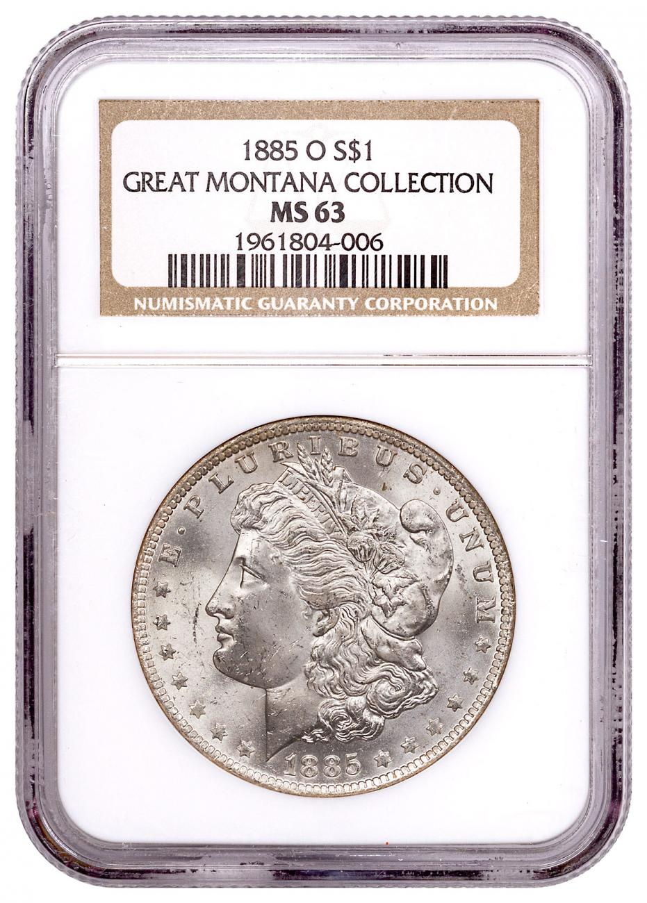 1885-O Morgan Silver Dollar From the Great Montana Collection NGC MS63 Toned CPCR 4006