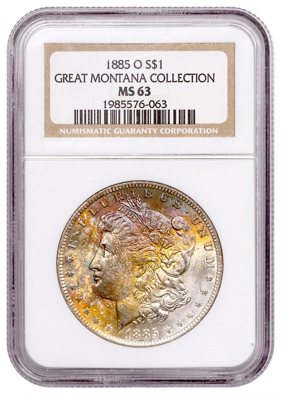 1885-O Morgan Silver Dollar From the Great Montana Collection NGC MS63 Toned CPCR 6063