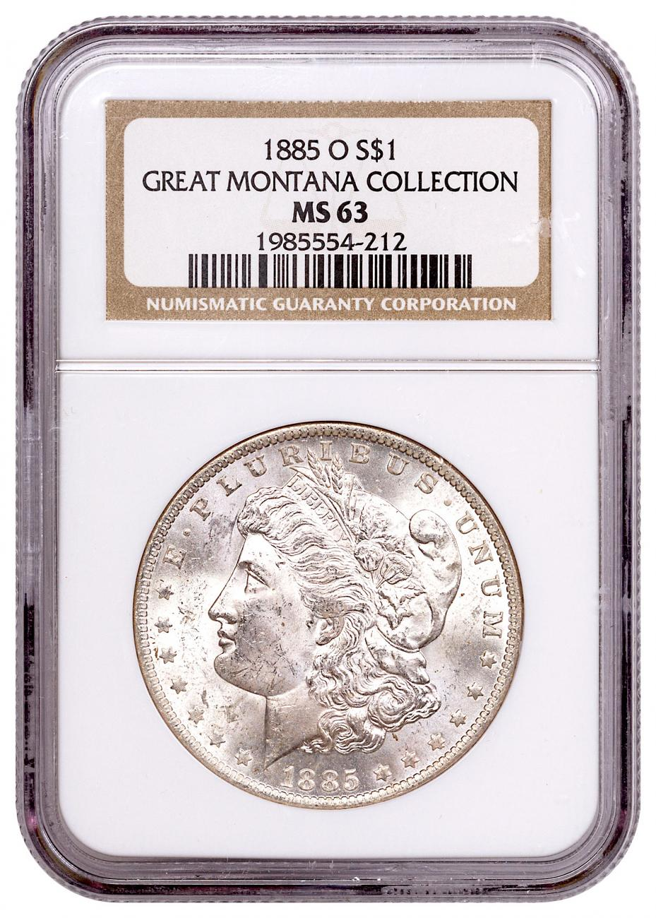 1885-O Silver Morgan Dollar From the Great Montana Collection NGC MS63 Toned CPCR 4212