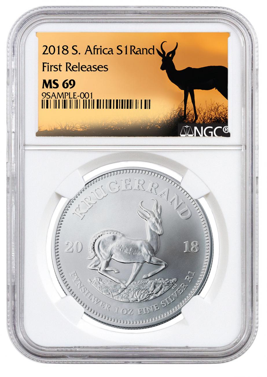 2018 South Africa 1 oz Silver Krugerrand R1 Coin NGC MS69 FR Springbok Label
