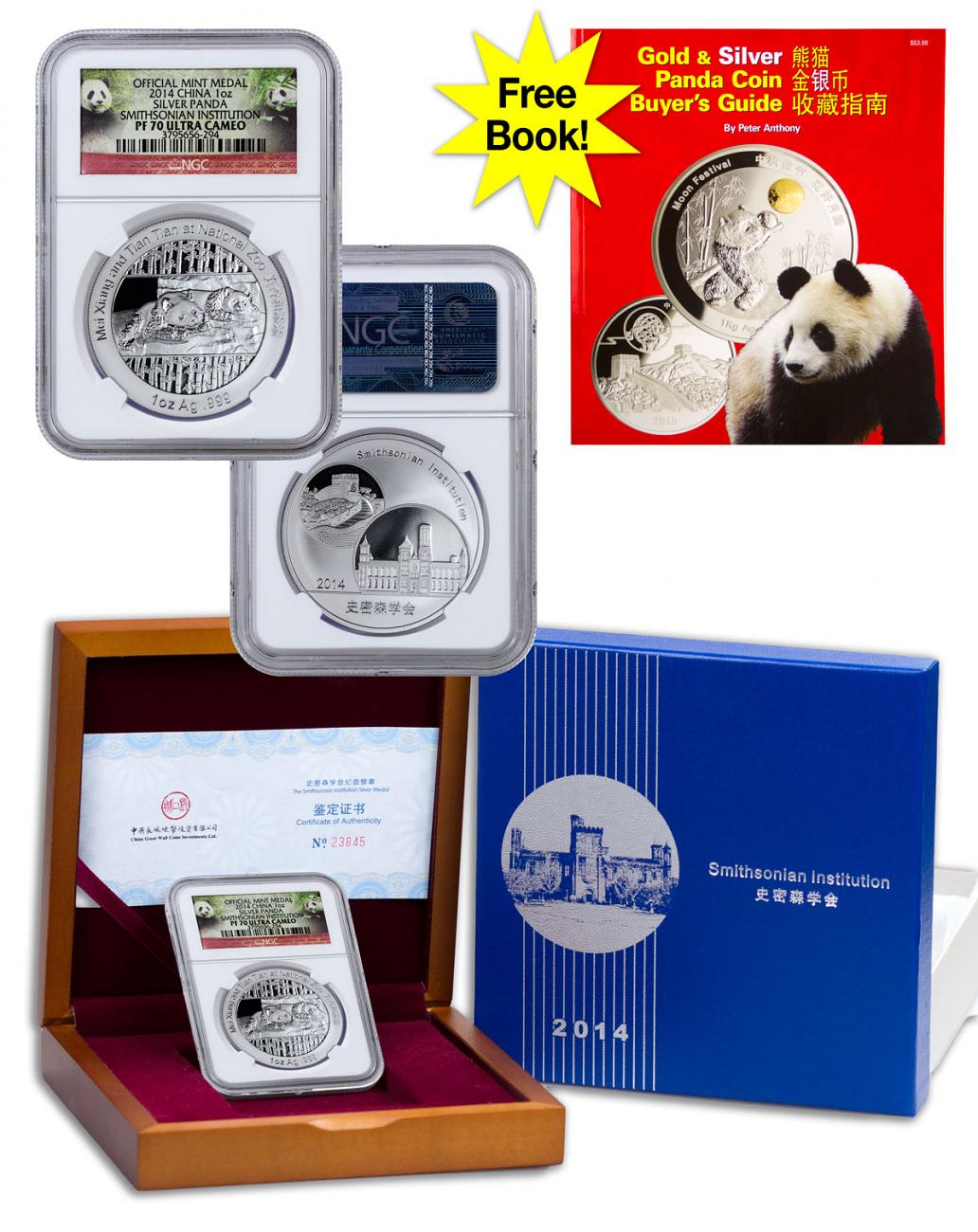 2014 China Mei Xiang and Tian Tian Smithsonian Institution Official Mint Medal 1 oz Silver Proof Medal NGC PF70 UC (Panda Label)