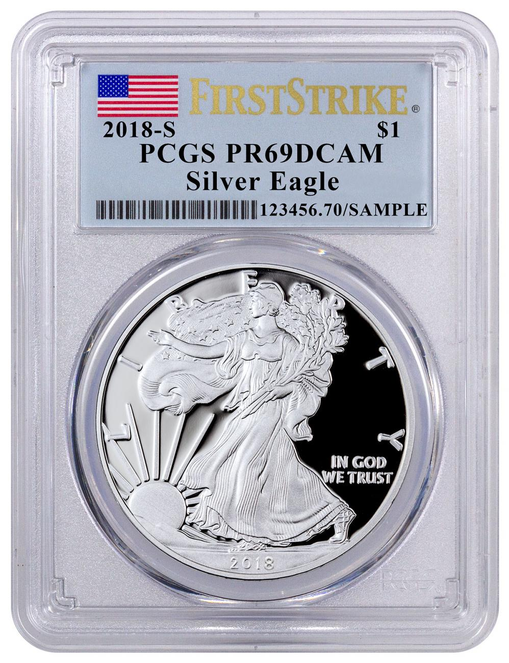 2018-S 1 oz Proof American Silver Eagle PCGS PR69 DCAM FS Flag Label