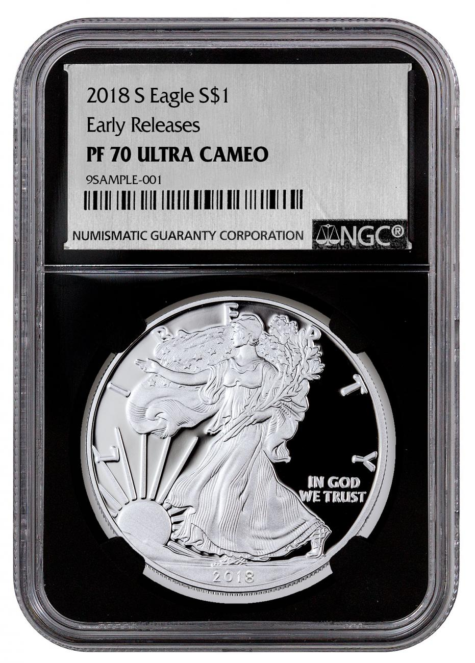 2018-S Proof American Silver Eagle NGC PF70 UC ER Black Core Holder Exclusive Silver Foil label