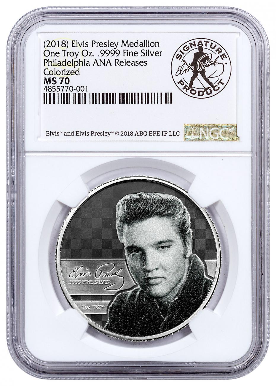 (2018) Elvis Presley 1 oz Silver Colorized Prooflike Medal ANA Show Releases NGC MS70 Elvis Signed Dual Label