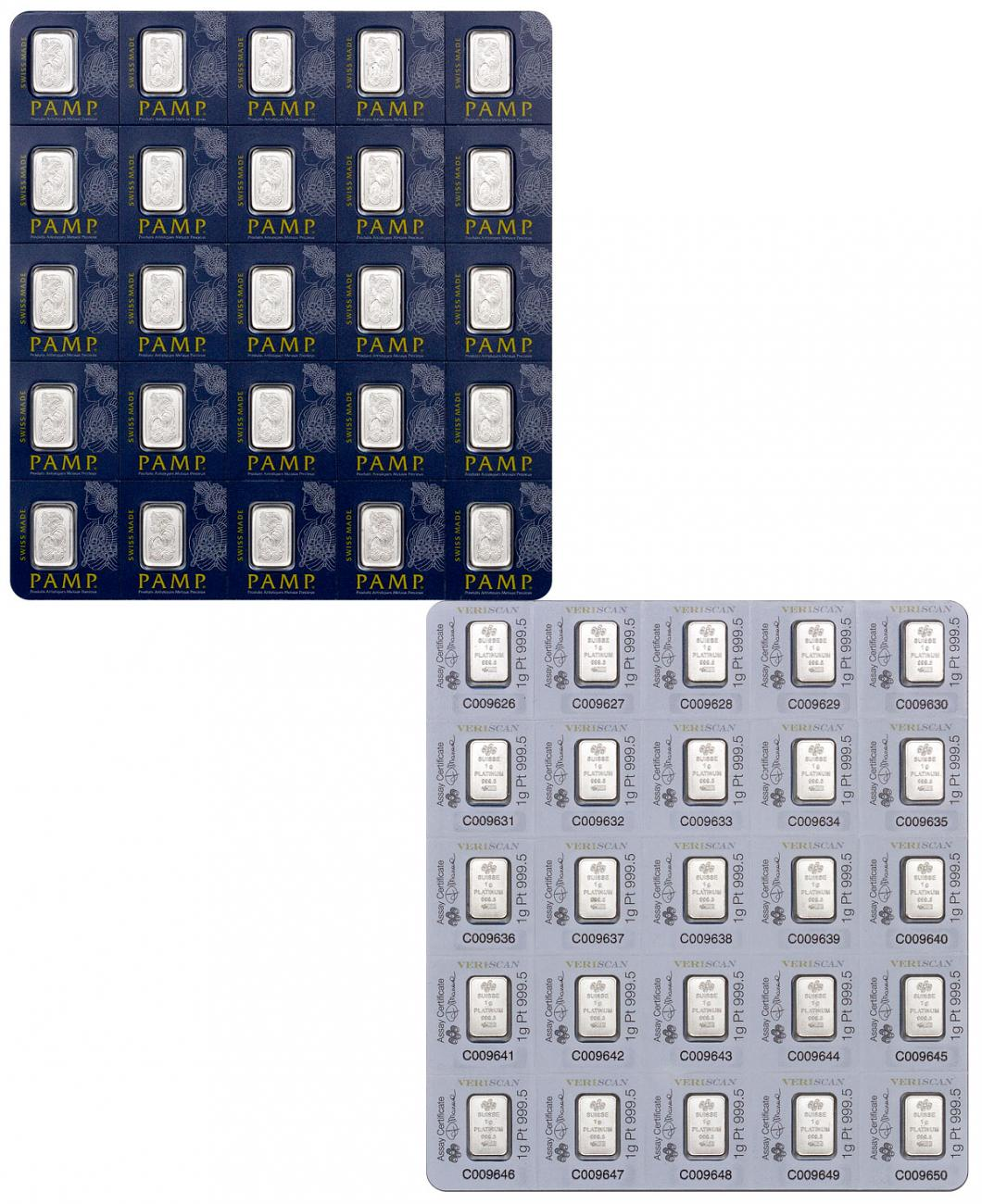 Sheet of 25 - PAMP Fortuna Snap Off 1 g Platinum Bars In Assay