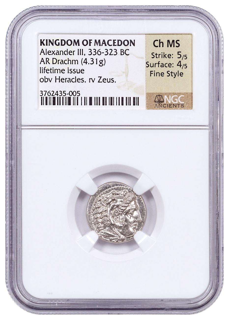 """336-323 BC Macedon, Silver Drachm of Alexander III """"the Great"""" NGC Ch. MS (Strike:5/5, Surface:4/5) Fine Style/Lifetime Issue"""