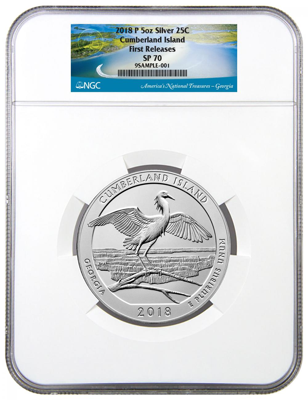 2018 Cumberland Island 5 oz. Silver America the Beautiful Specimen Coin NGC SP70 FR