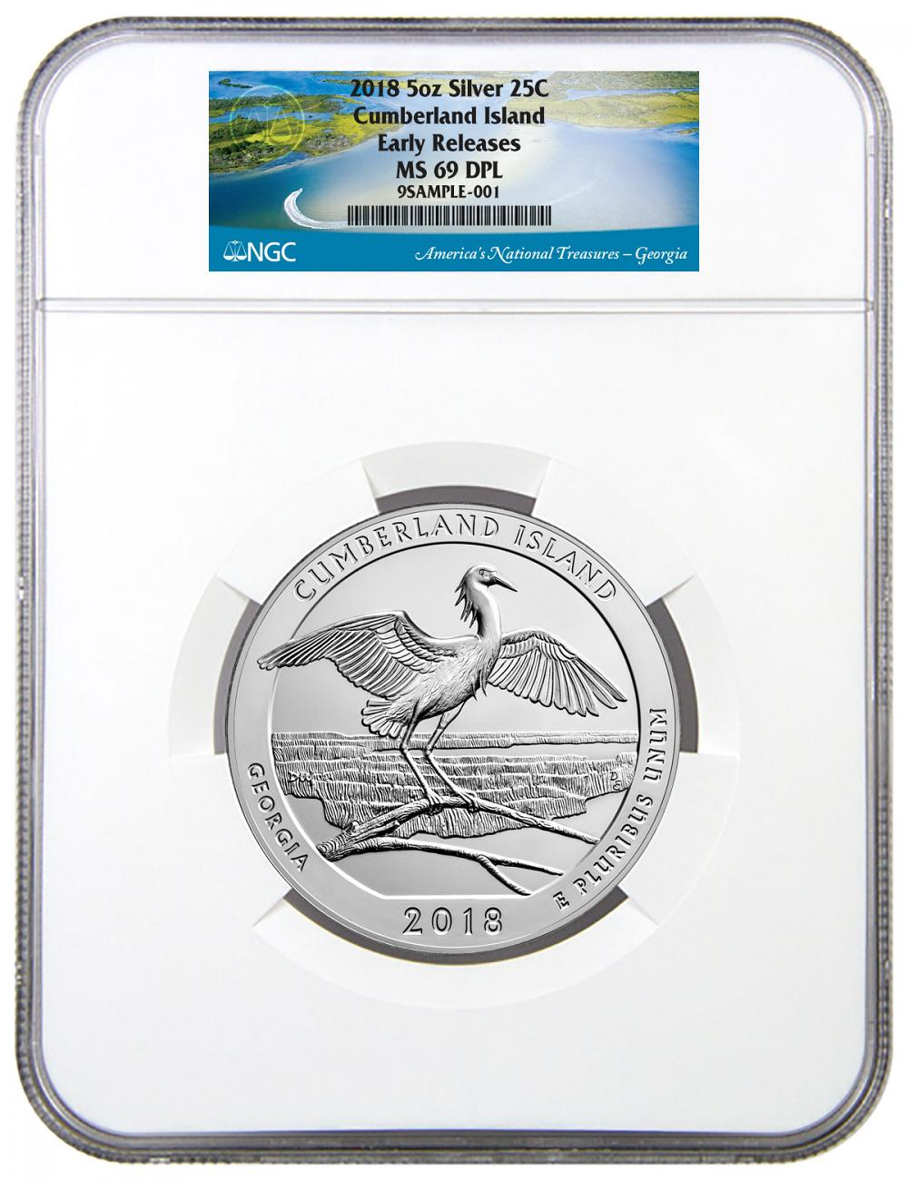 2018 Cumberland Island 5 oz. Silver America the Beautiful Coin NGC MS69 DPL ER