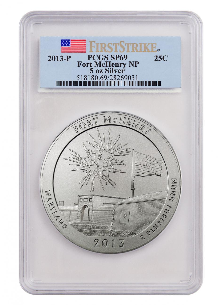 2013-P Fort McHenry 5 oz. Silver America the Beautiful Specimen Coin PCGS SP69 FS