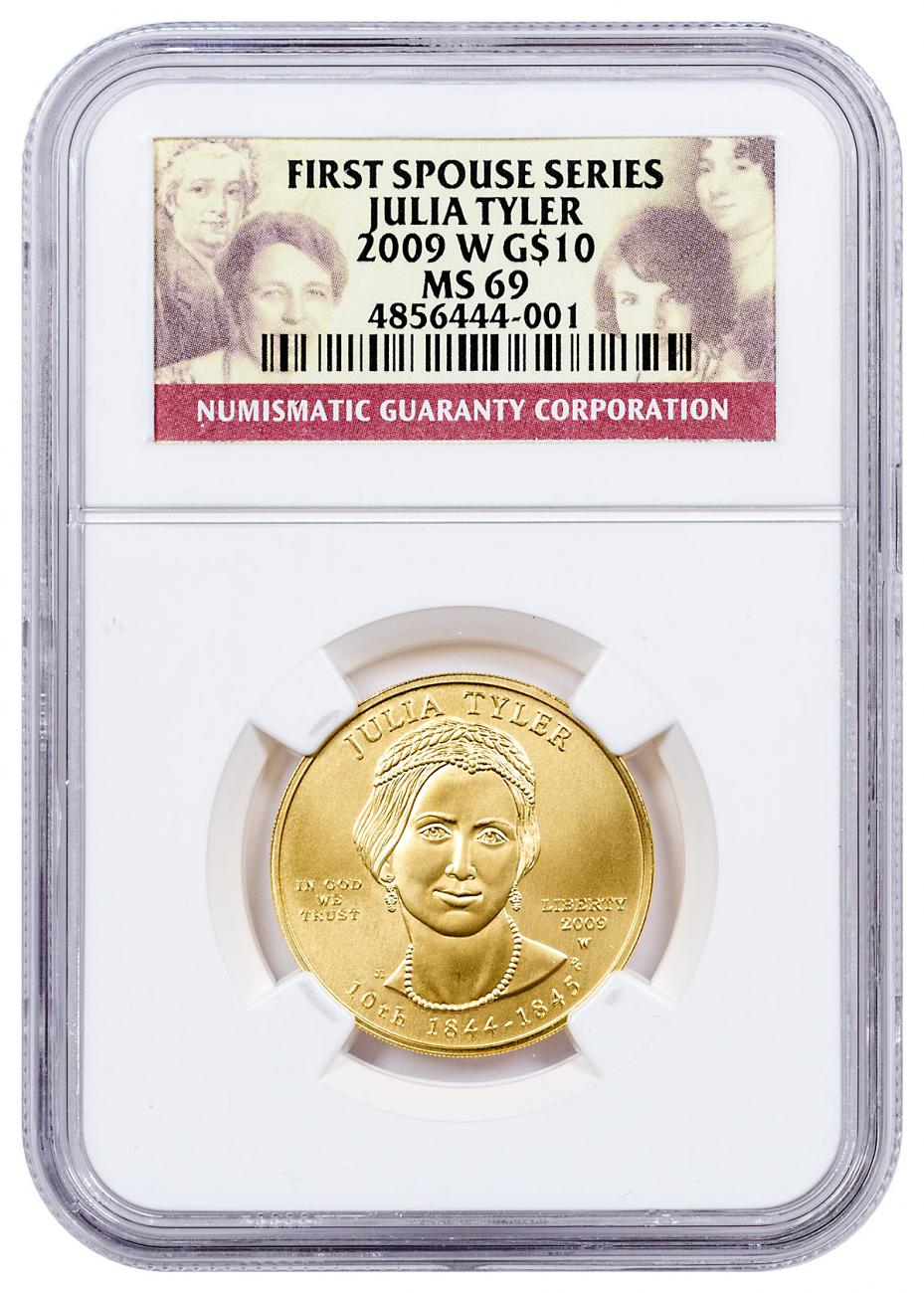 2009-W Julia Tyler First Spouse Gold $10 Coin NGC MS69
