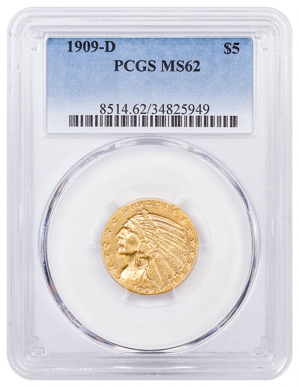 1909-D Indian Head $5 Gold Half Eagle PCGS MS62