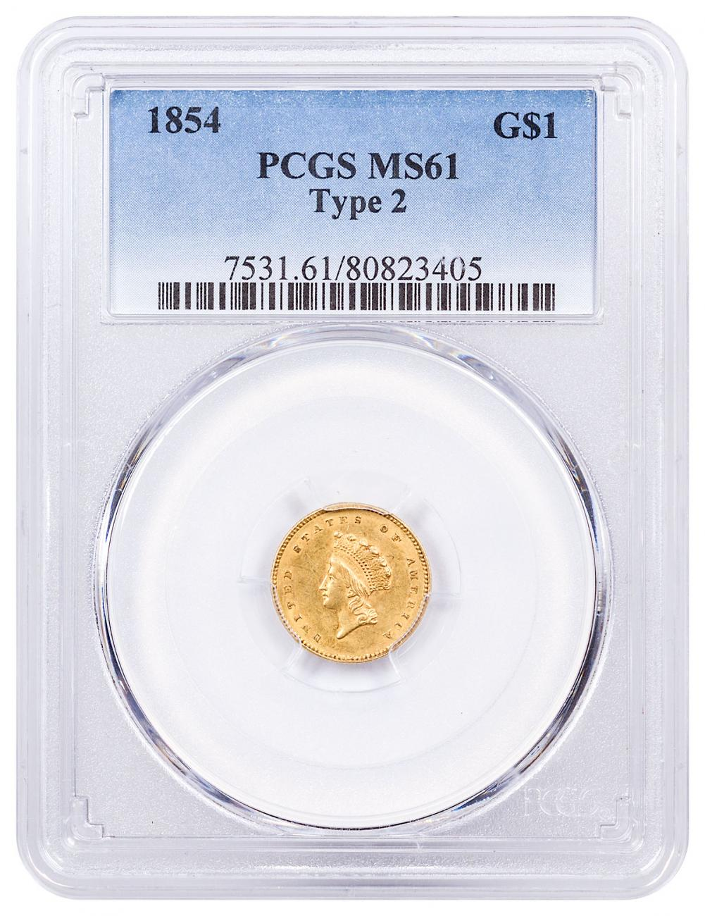 1854 Gold Type 2 Indian Princess PCGS MS61
