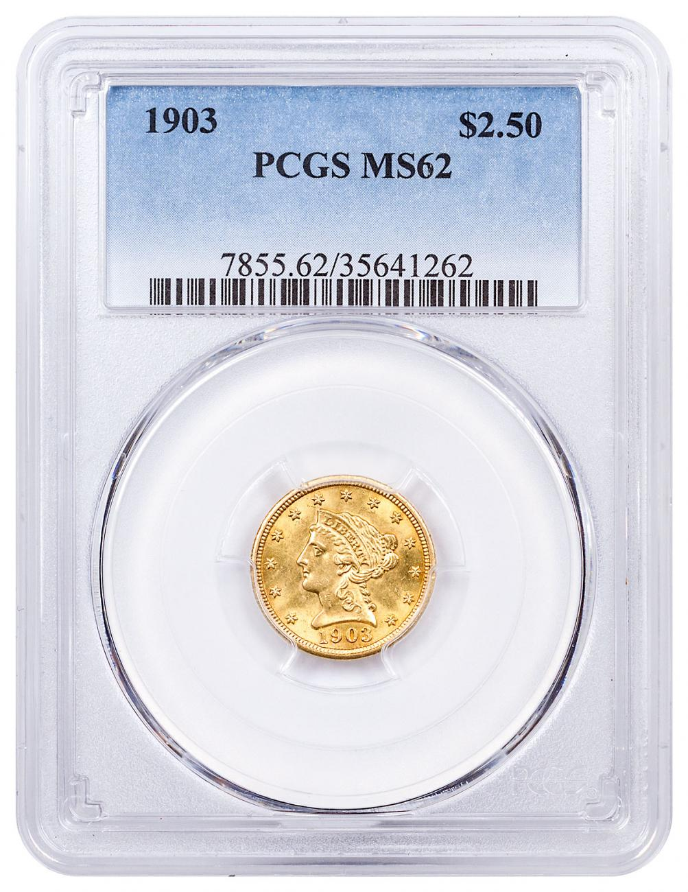 1903 Liberty Head $2.5 Gold Quarter Eagle Coronet PCGS MS62