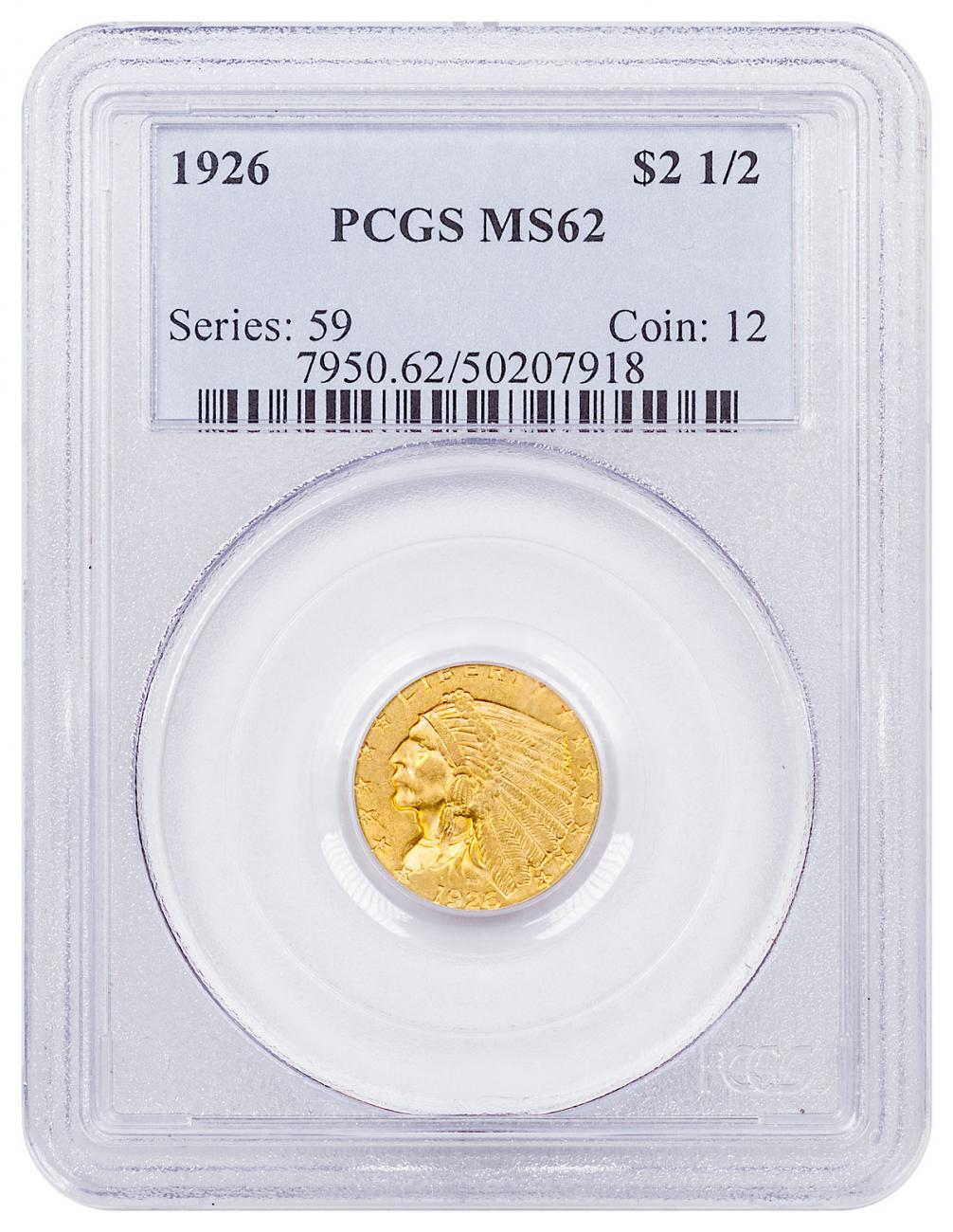 1926 Indian Head $2.50 Gold Quarter Eagle PCGS MS62