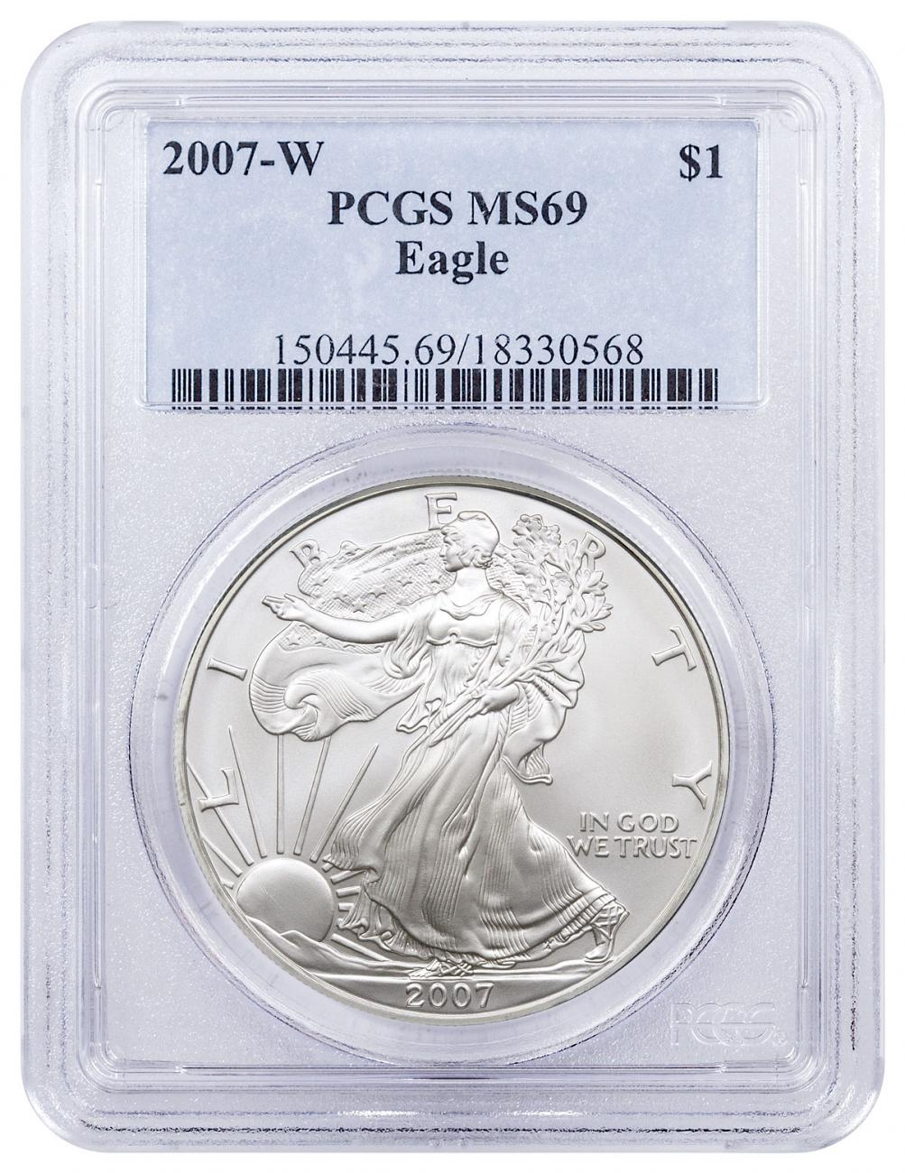 2007-W Burnished Silver Eagle PCGS MS69