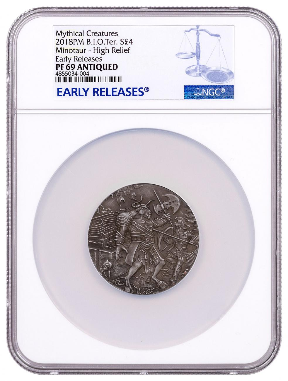2018 British Indian Ocean Territory Mythical Creatures - The Minotaur Ultra High Relief 2 oz Silver Antiqued Proof £4 Coin NGC PF69 ER