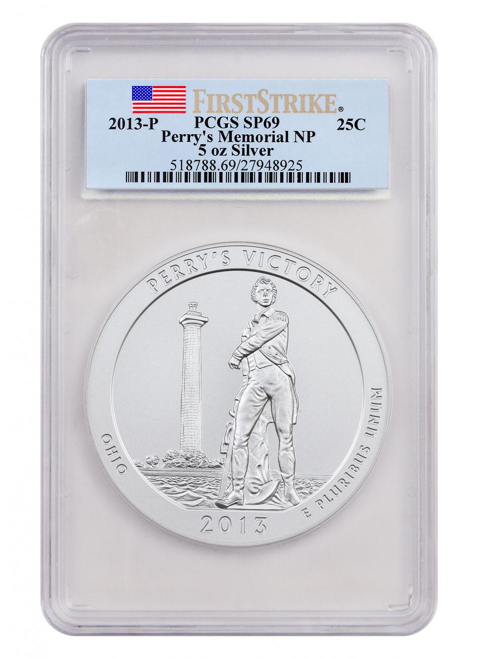 2013-P Perry's Victory 5 oz. Silver America the Beautiful Specimen Coin PCGS SP69 FS Flag Label