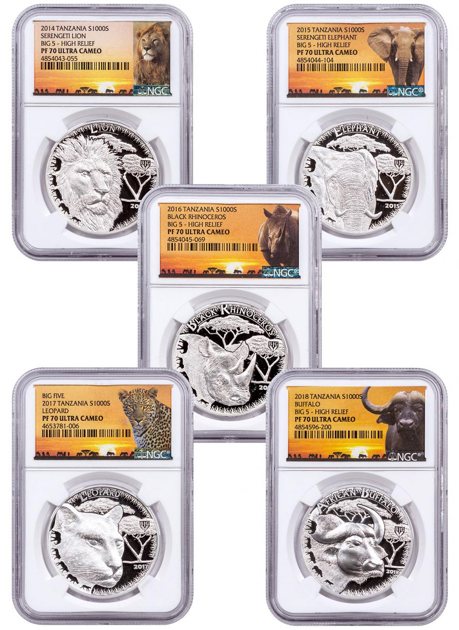 2014-2018 Tanzania Big 5 - 5-Piece Set High Relief 1 oz Silver Proof Coin NGC PF70 UC Exclusive Serengeti Label