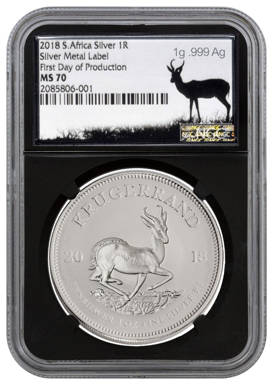 2018 South Africa 1 oz Silver Krugerrand R1 Coin Scarce and Unique Coin Division NGC MS70 First Day of Production Black Core Holder Silver Precious Metal Label