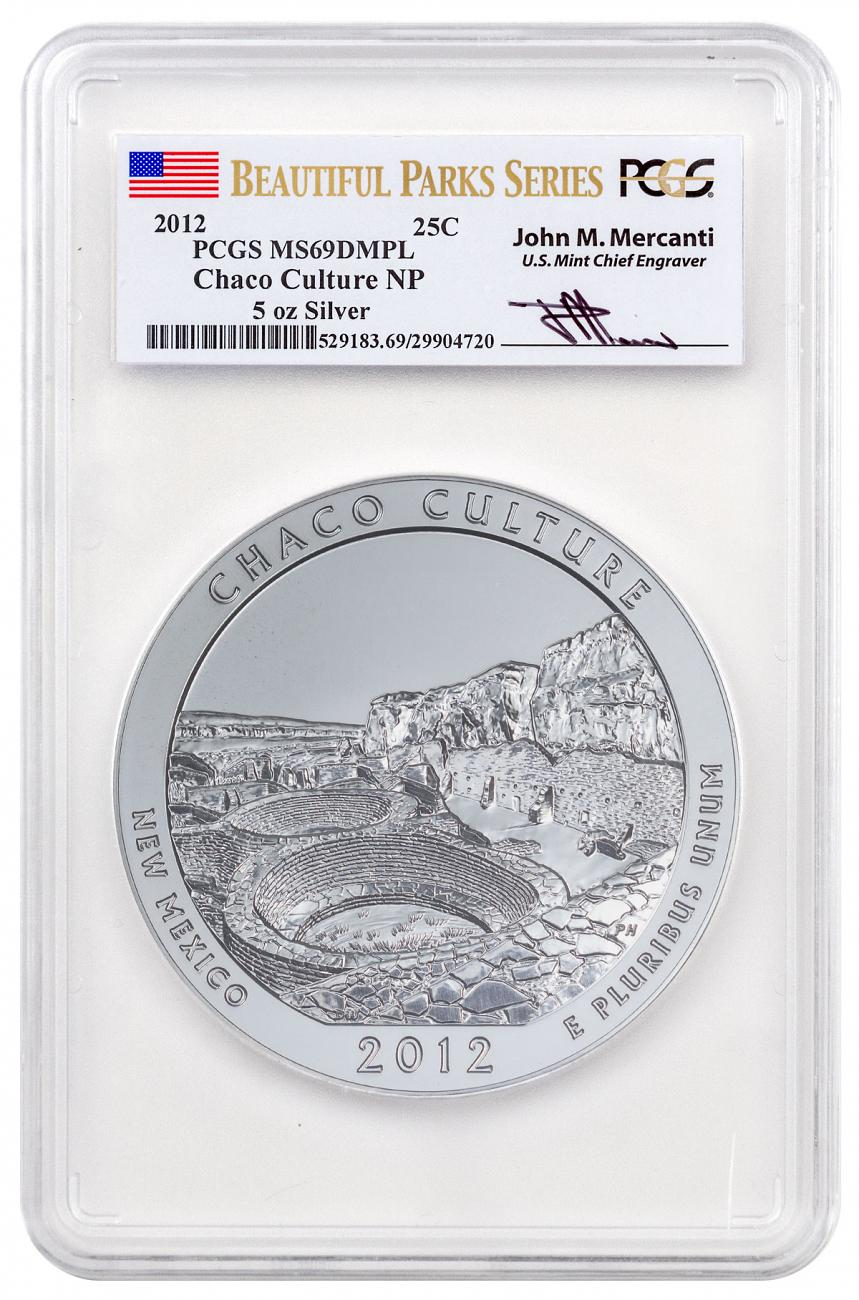 2012 Chaco Culture 5 oz. Silver America the Beautiful Coin PCGS MS69 DMPL Mercanti Signed Beautiful Parks Series Flag Label