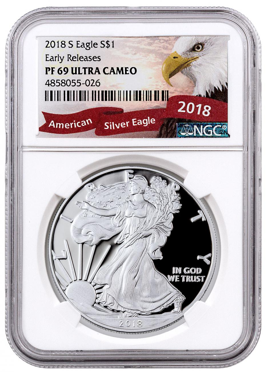 2018-S Proof American Silver Eagle NGC PF69 UC ER Exclusive American Eagle Label
