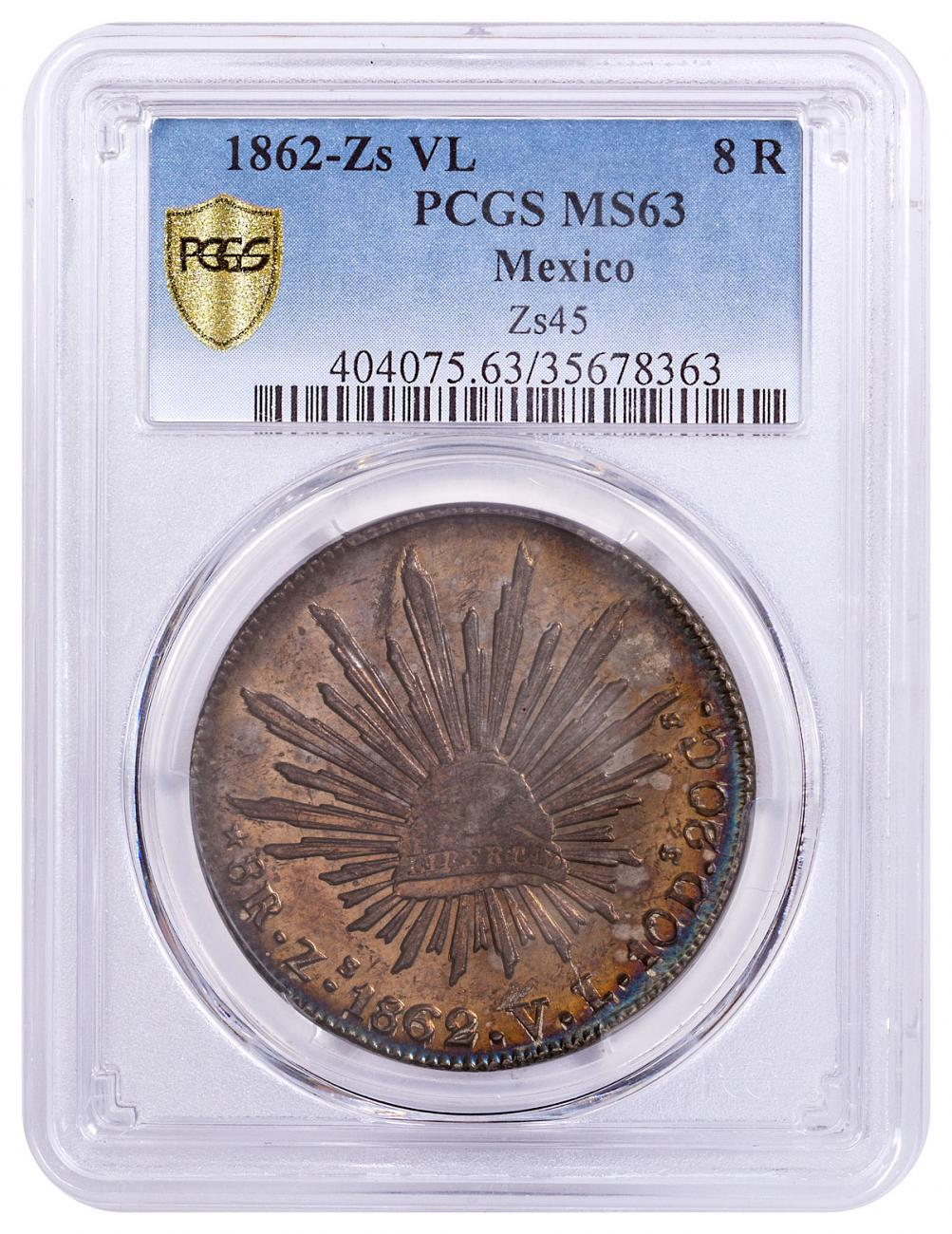 1862-Zs VL Mexico Silver 8 Reales PCGS MS63 - Finest Known