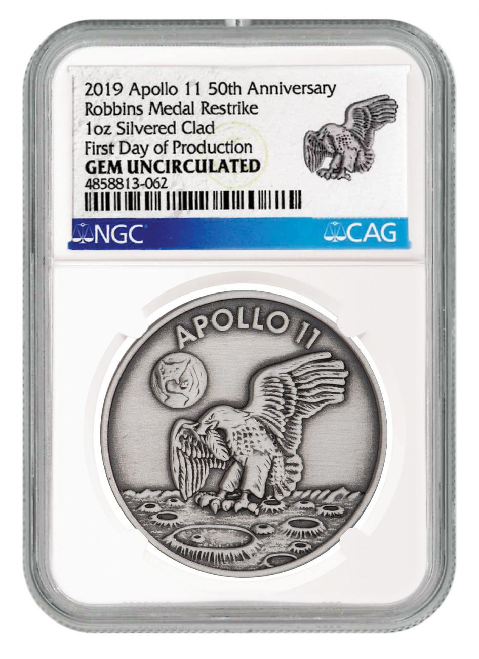 1969-2019 Apollo 11 50th Anniversary Robbins Medals 1 oz Silver-Plated Antiqued Medal NGC GEM Unc First Day of Production