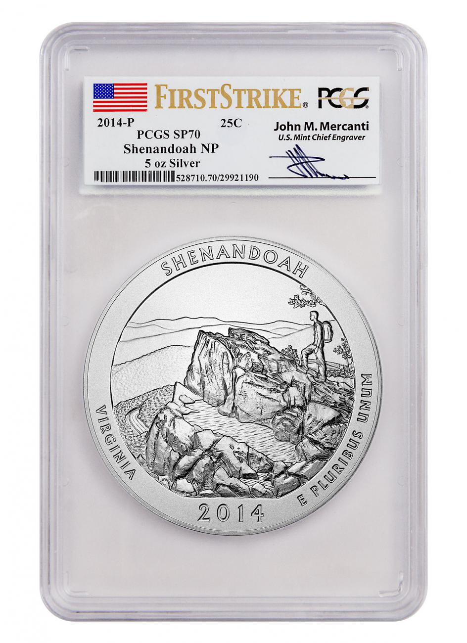 2014-P Shenandoah 5 oz. Silver America the Beautiful Specimen Coin PCGS SP70 FS (Mercanti Signed Label)