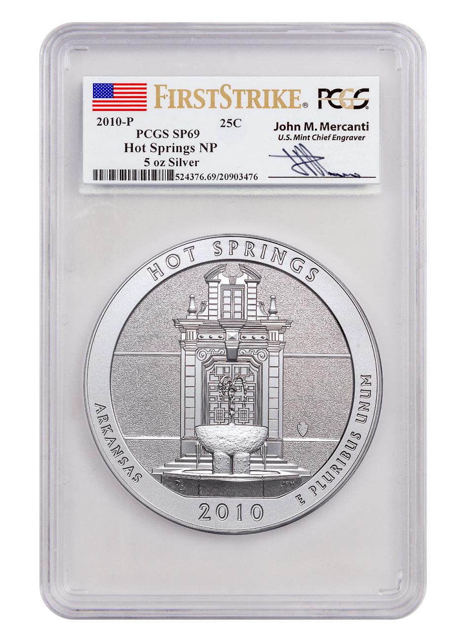 2010-P Hot Springs 5 oz. Silver America the Beautiful Specimen Coin PCGS SP69 FS (Mercanti Signed Label)
