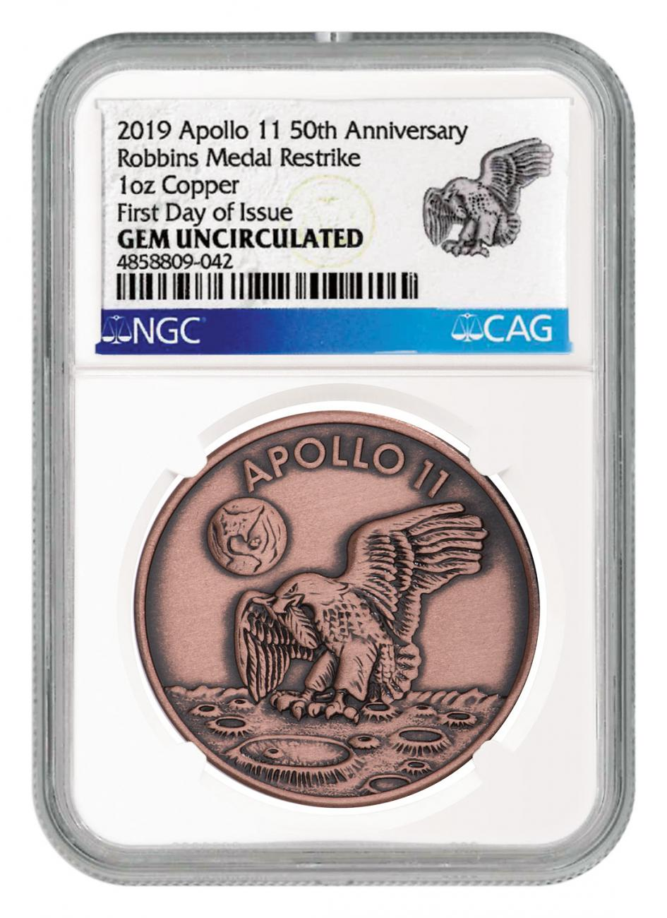 1969-2019 Apollo 11 50th Anniversary Robbins Medals 1 oz Copper Antiqued Medal NGC GEM Unc FDI