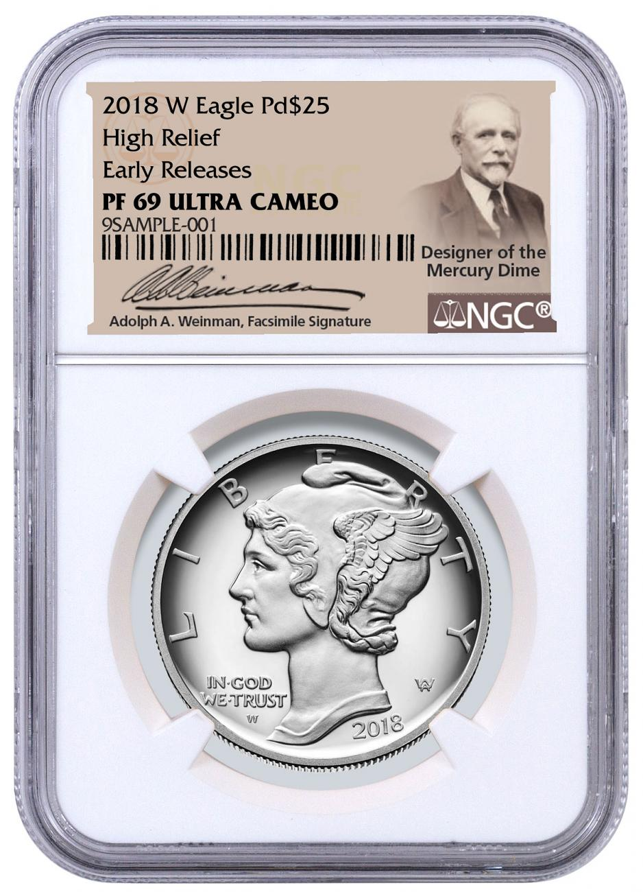 2018-W 1 oz High Relief Palladium Eagle Proof $25 Coin NGC PF69 ER Adolph Weinman Label