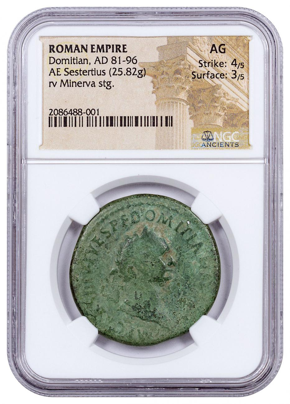 Roman Empire, Domitian (AD 81-96) AE Sestertius – NGC AG (Strike: 4/5, Surface: 3/5)