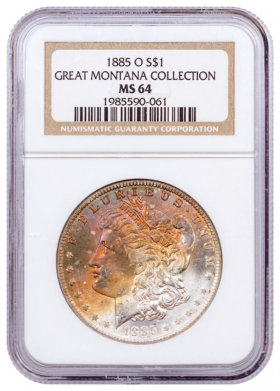 1885-O Silver Morgan Dollar From the Great Montana Collection NGC MS64 Toned CPCR 0061
