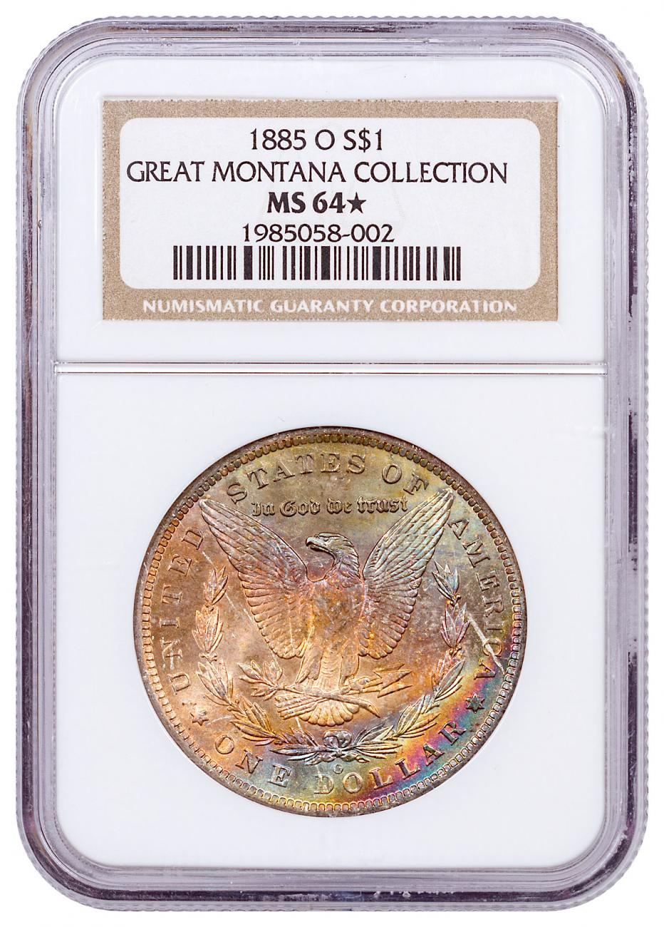 1885-O Morgan Silver Dollar From the Great Montana Collection NGC MS64* Rainbow Toned CPCR 8002