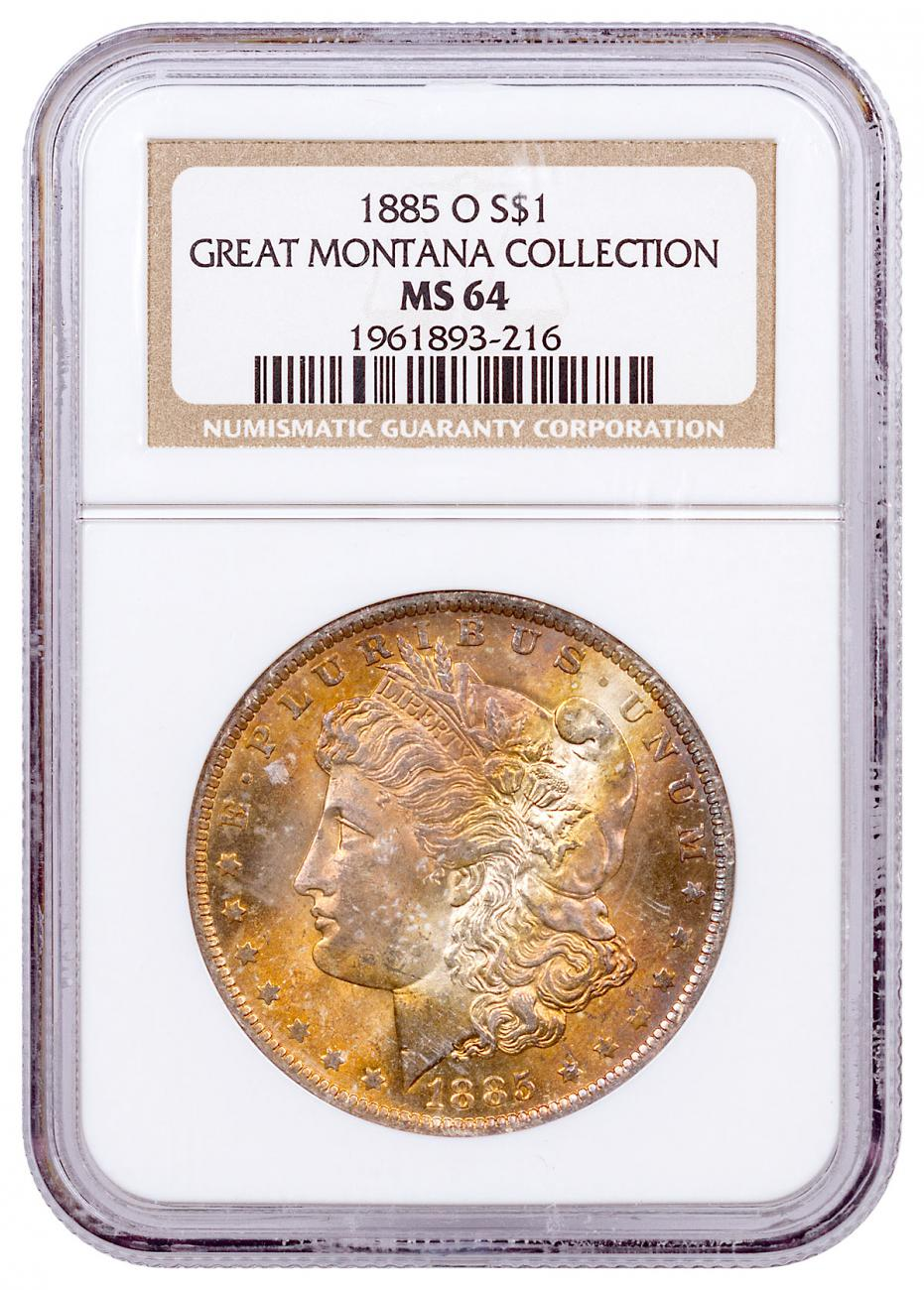 1885-O Morgan Silver Dollar From the Great Montana Collection NGC MS64 CPCR 3216