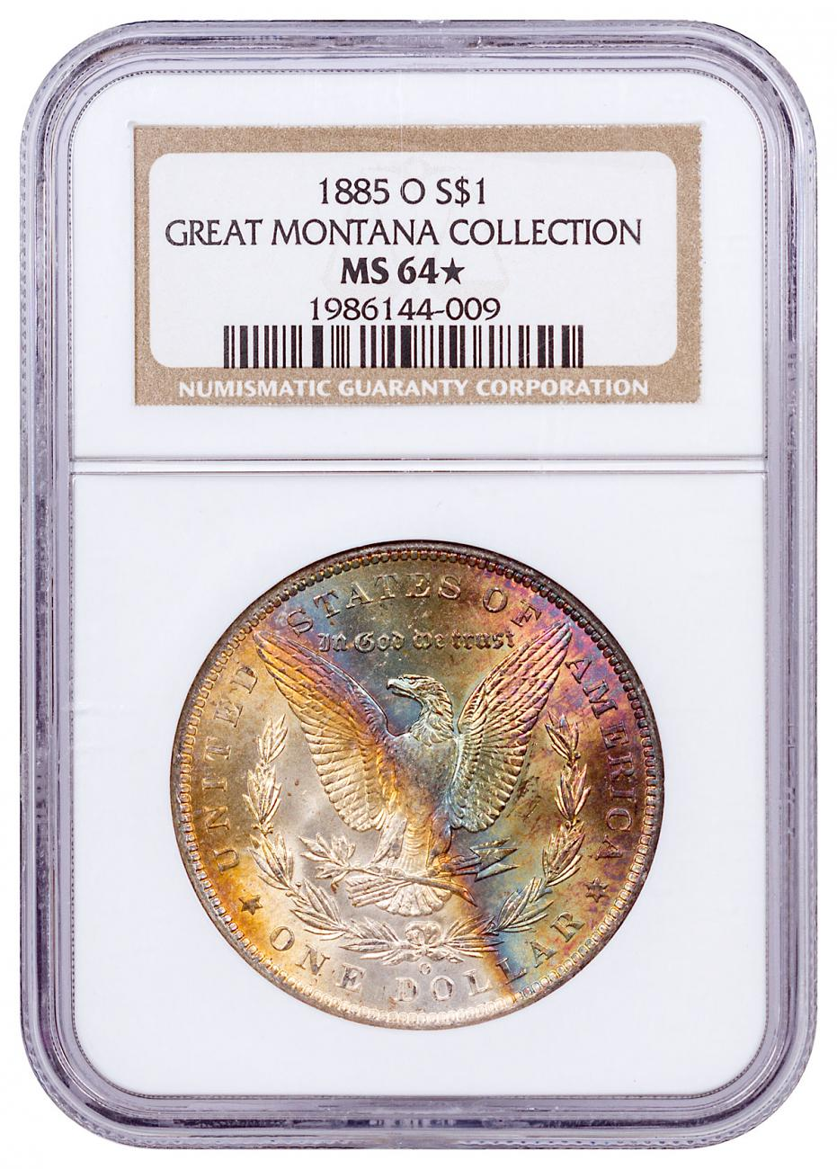 1885-O Morgan Silver Dollar From the Great Montana Collection NGC MS64* Rainbow Toned CPCR 4009