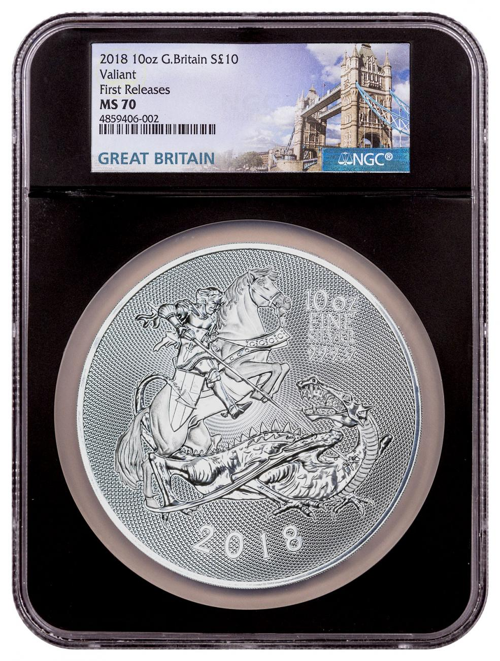 2018 Great Britain 10 oz Incused Silver Valiant £10 Coin NGC MS70 FR Black Core Holder