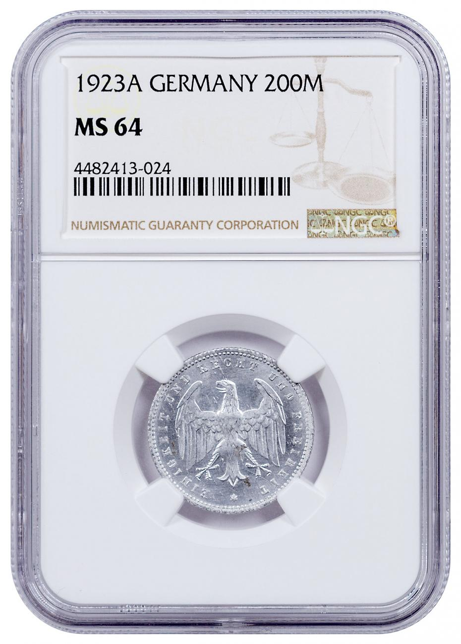 1923-A Germany 200 Mark NGC MS64