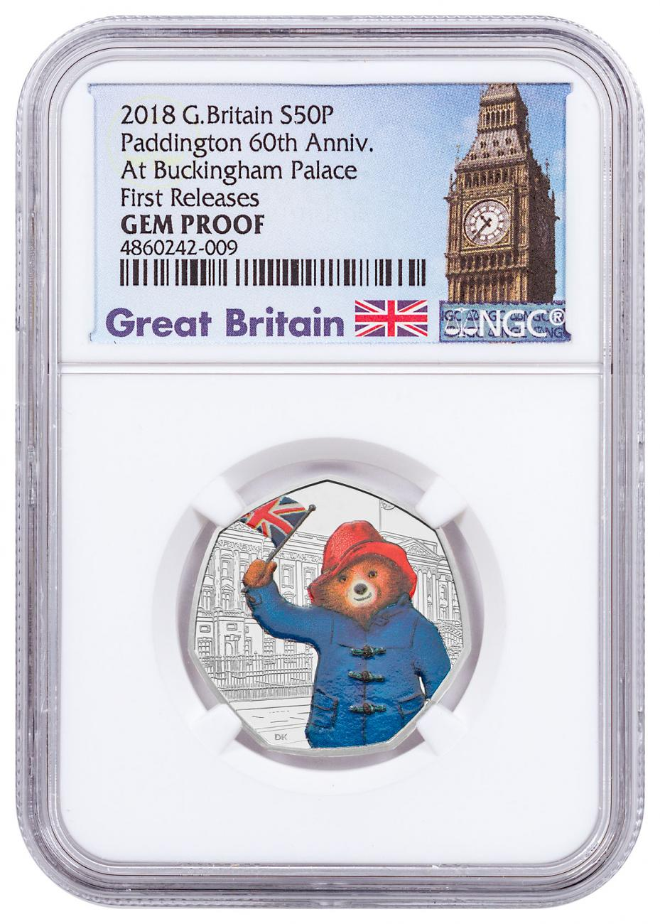 2018 Great Britain Paddington Bear - At Buckingham Palace 8 g Silver Proof 50p Coin NGC GEM Proof FR Exclusive Big Ben Label