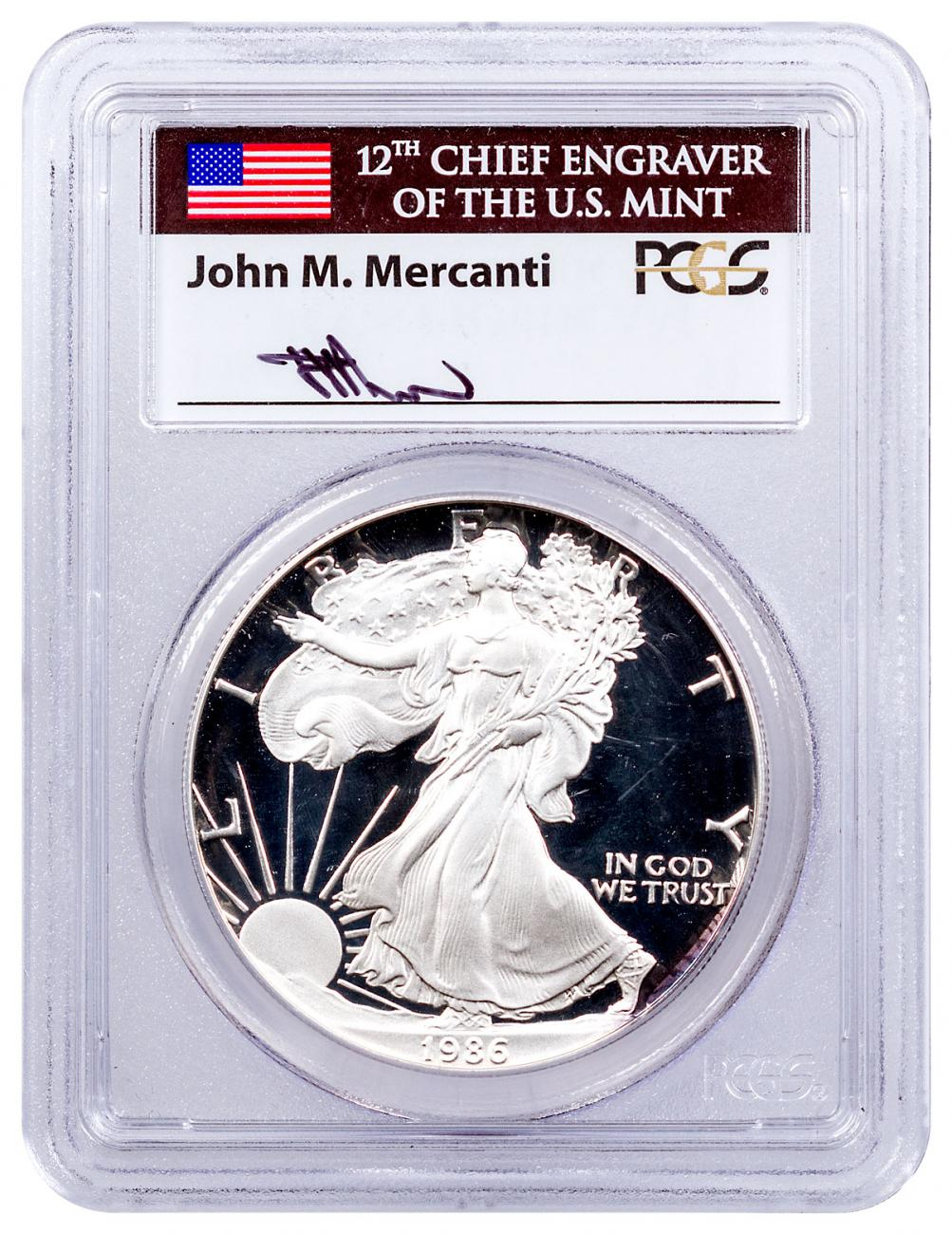 1986-S Proof American Silver Eagle PCGS PR70 DCAM Mercanti Signed Flag Label
