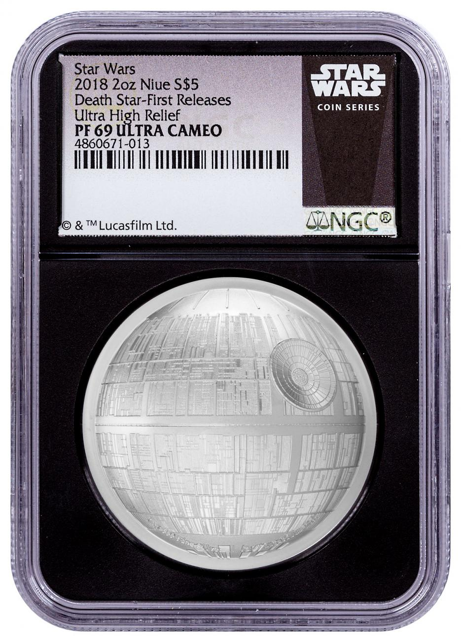 2018 Niue Star Wars - Death Star Ultra High Relief Domed 2 oz Silver Proof $5 Coin NGC PF69 UC FR Black Core Holder Exclusive Star Wars Label