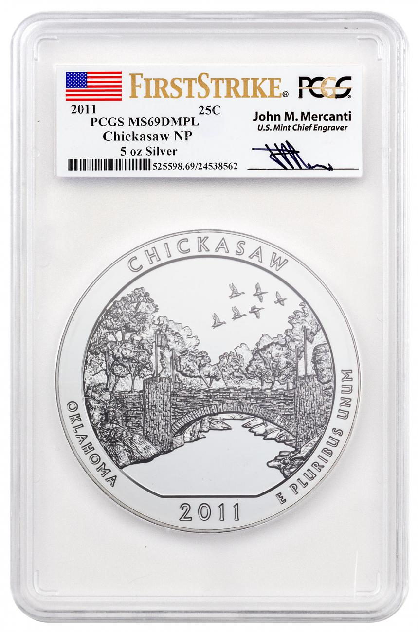 2011 Chickasaw 5 oz. Silver America the Beautiful Coin PCGS MS69 DMPL FS Mercanti Signed Flag Label