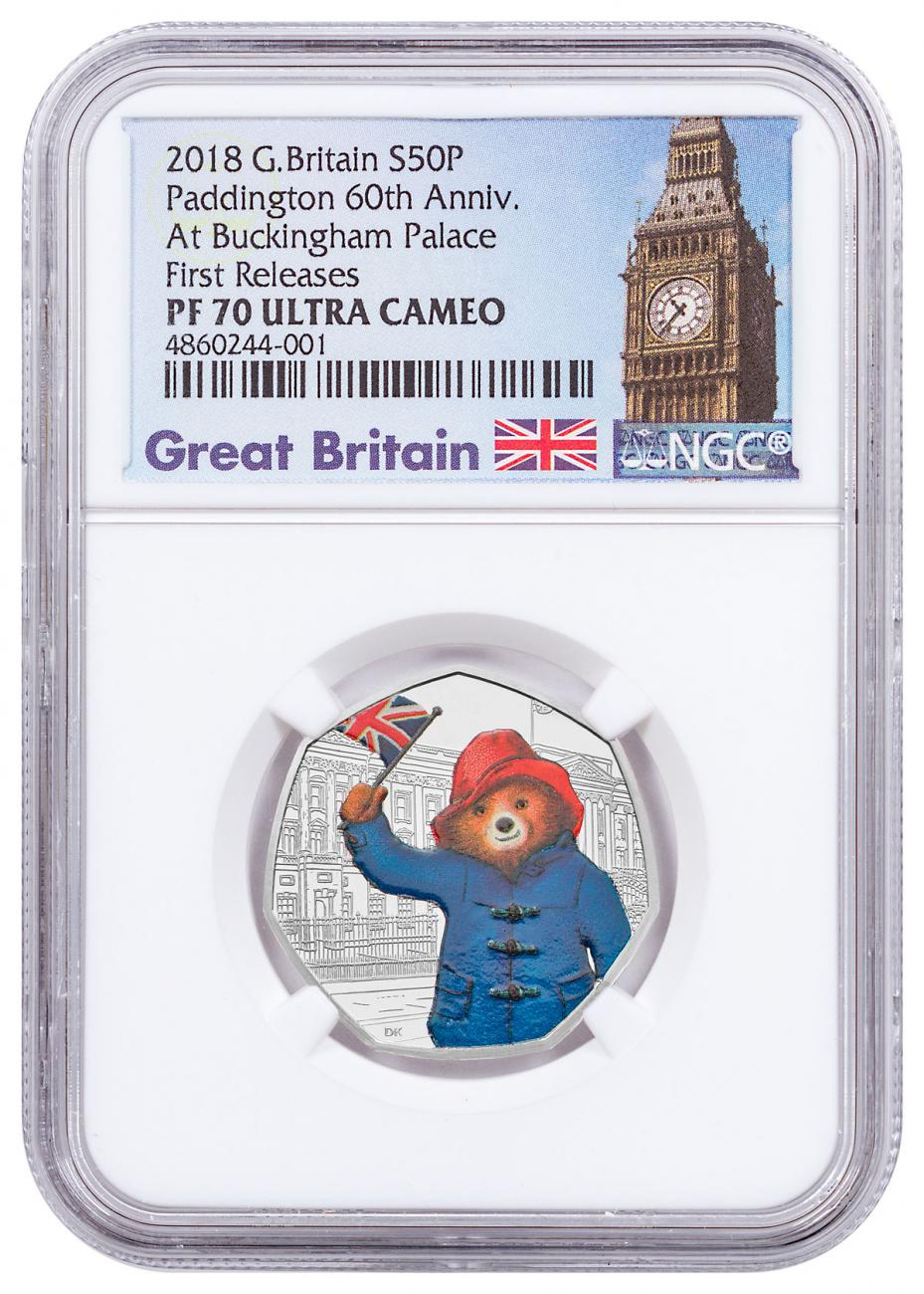 2018 Great Britain Paddington Bear - At Buckingham Palace 8 g Silver Proof 50p Coin NGC PF70 UC FR Exclusive Big Ben Label
