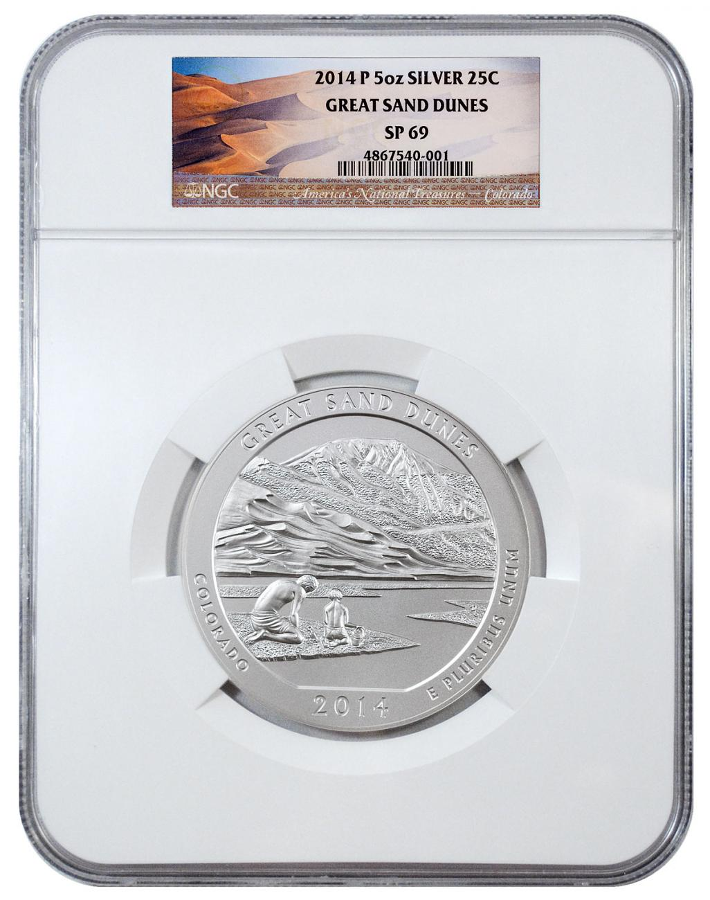 2014-P Great Sand Dunes 5 oz. Silver America the Beautiful Specimen Coin NGC SP69