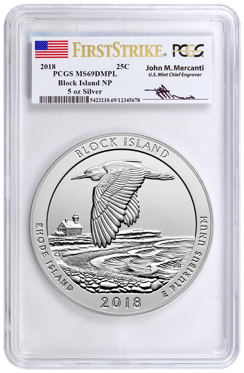 2018 Block Island 5 oz. Silver America the Beautiful Coin PCGS MS69 DMPL FS Mercanti Signed Label