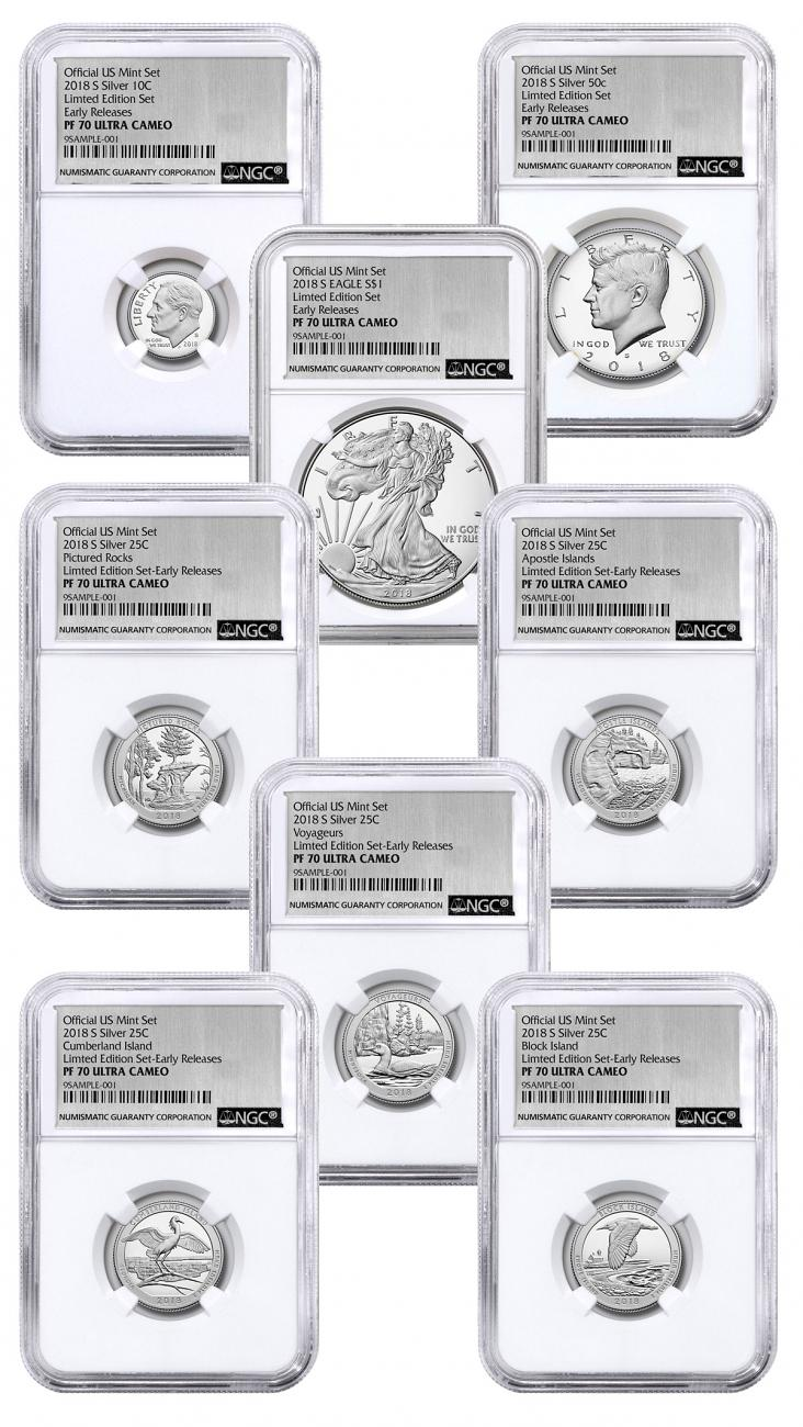 8-Coin Set - 2018-S U.S. Limited Edition Silver Proof Coins Set NGC PF70 UC ER Silver Foil Label
