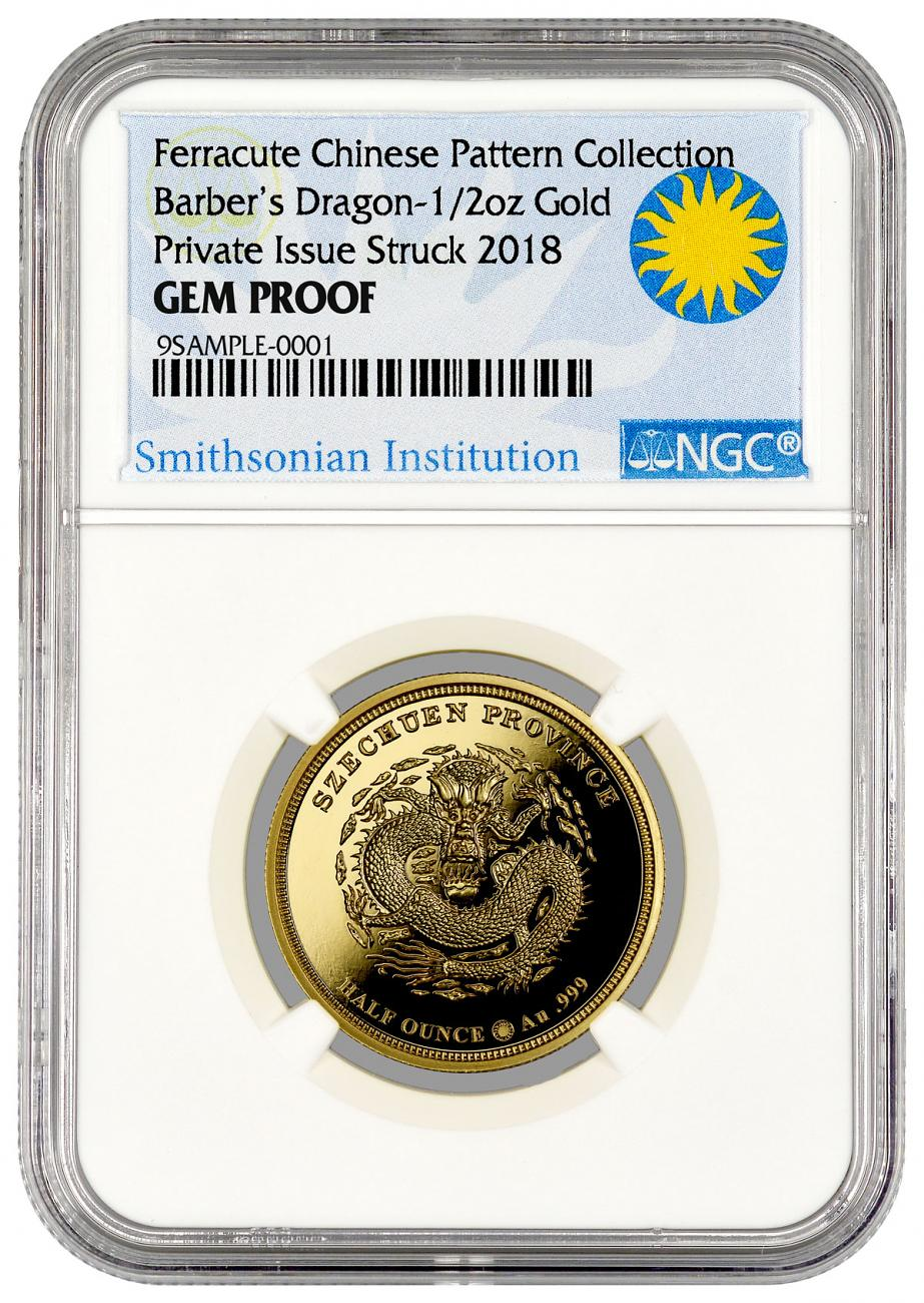 2018 Smithsonian Charles Barber's Dragon Pattern 1/2 oz Gold Proof Medal NGC GEM Proof